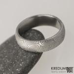 3 kolečka 75 světlá, damasteel snubní prsten, struktura